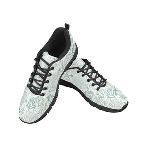 Coral Reef Pattern Print Design 02 Women's Sneakers Black