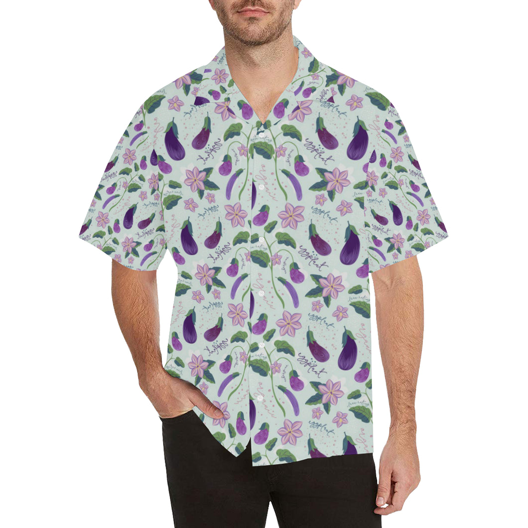 Eggplant Pattern Print Design 03 Men's All Over Print Hawaiian Shirt (Model T58)