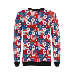 USA Star Hexagon Pattern Women's Crew Neck Sweatshirt