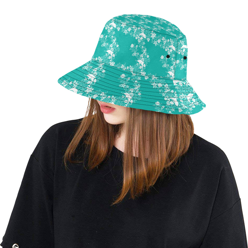 Dolphin Sea Shell Starfish Pattern Unisex Bucket Hat