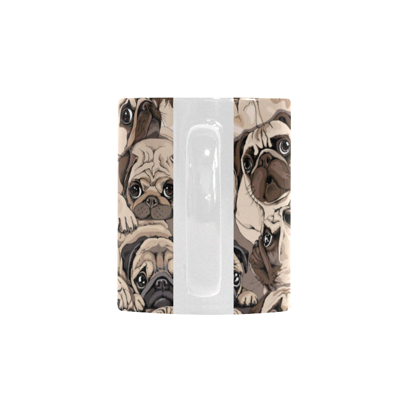 Pug Pattern Background Classical White Mug (FulFilled In US)