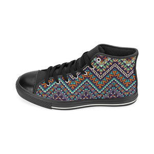 Zigzag African Afro Dashiki Adinkra Kente Women's High Top Shoes Black