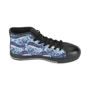 Whale Starfish Pattern Women's High Top Shoes Black