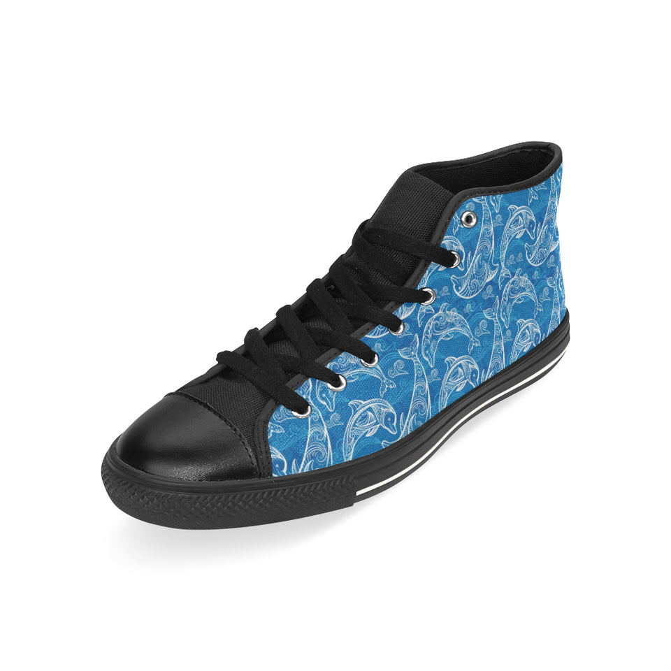 Dolphin Tribal Blue Pattern Men's High Top Shoes Black (FulFilled In US)