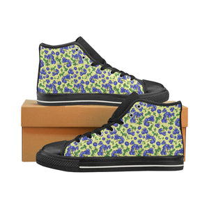 Blueberry Leaves Pattern Men's High Top Shoes Black (FulFilled In US)