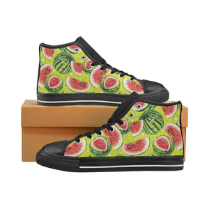 Watermelon Theme Pattern Women's High Top Shoes Black Made In USA