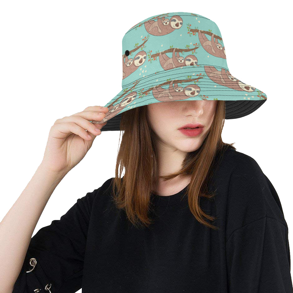 Sloth Mom and baby Pattern Unisex Bucket Hat