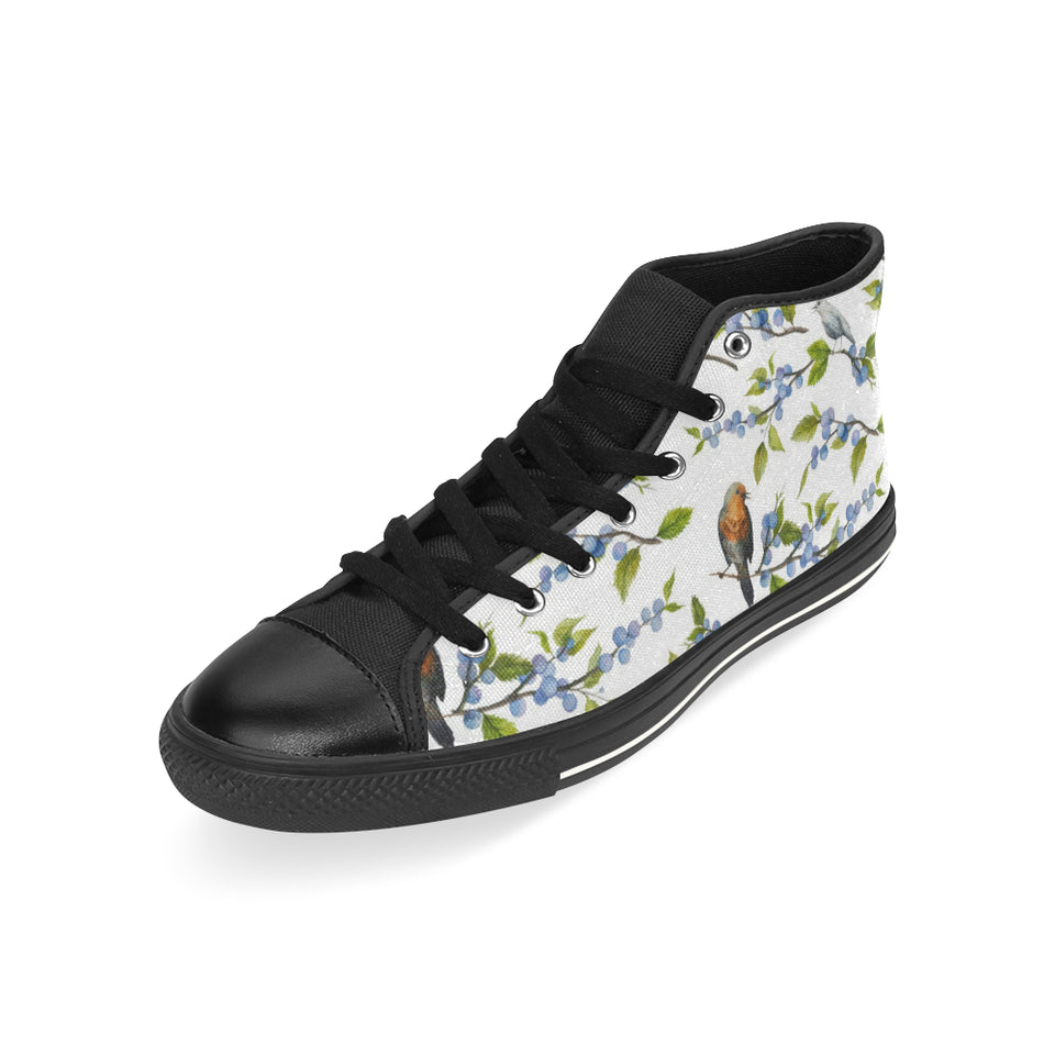 Blueberry Bird Pattern Men's High Top Shoes Black (FulFilled In US)