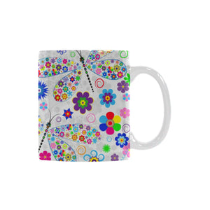 Dragonfly Color Flower Pattern Classical White Mug (FulFilled In US)