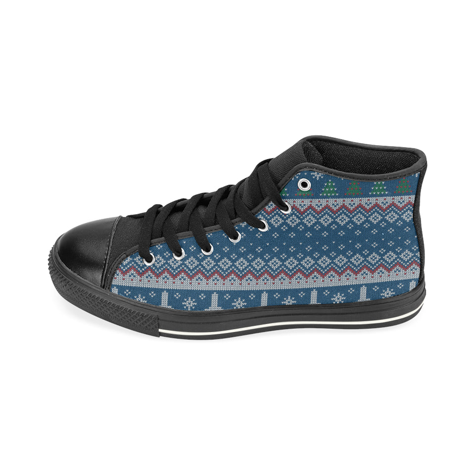 Airplane Sweater printed Pattern Women's High Top Shoes Black