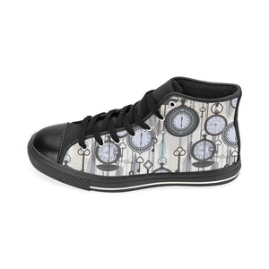 Vintage Clock Pattern Women's High Top Shoes Black