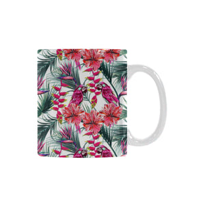 Pink Parrot Heliconia Pattern Classical White Mug (FulFilled In US)