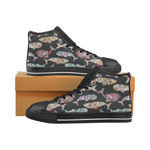 Whale Flower Tribal Pattern Women's High Top Shoes Black Made In USA