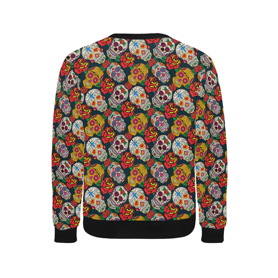 Suger Skull Pattern Background Men's Crew Neck Sweatshirt