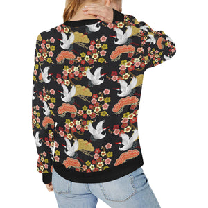 Japanese Crane Pattern Women's Crew Neck Sweatshirt