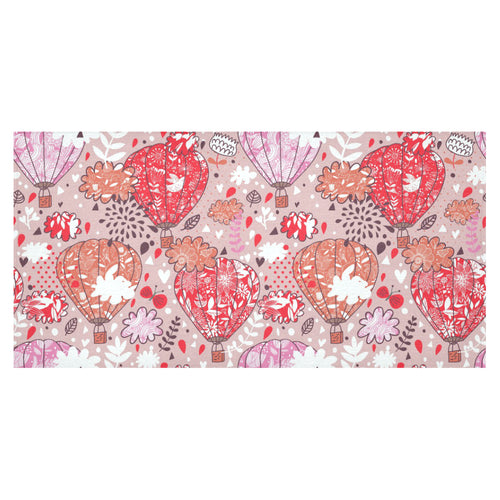 Red Pink Hot Air Balloon Pattern Tablecloth