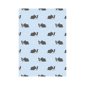 Sleep Boston Terrier Bone Pattern House Flag Garden Flag