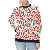 Red Chili Pattern Women's Crew Neck Sweatshirt