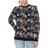 Snake Flower Pattern Women's Crew Neck Sweatshirt
