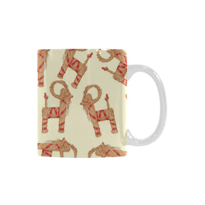 Yule Goat or Christmas goat Pattern Classical White Mug (FulFilled In US)