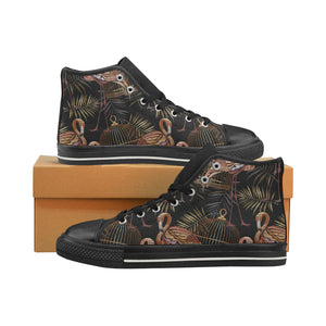 Flamingo Pattern Background Men's High Top Shoes Black