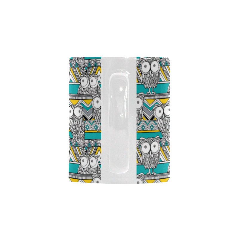Owl Pattern Green Background Classical White Mug (FulFilled In US)