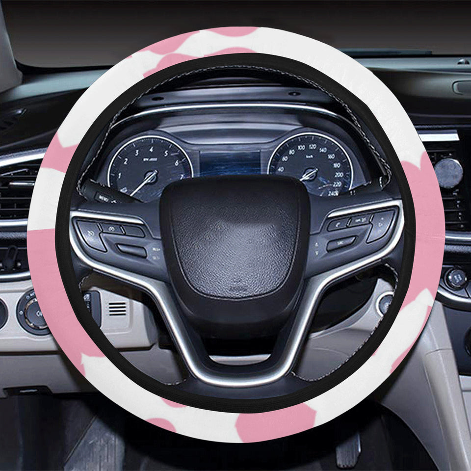 Pink Cow Skin Pattern Car Steering Wheel Cover