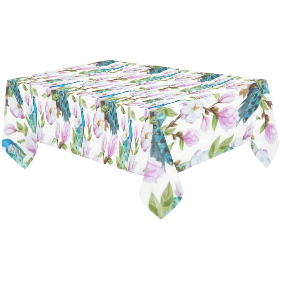 Peacock Pink Flower Pattern Tablecloth