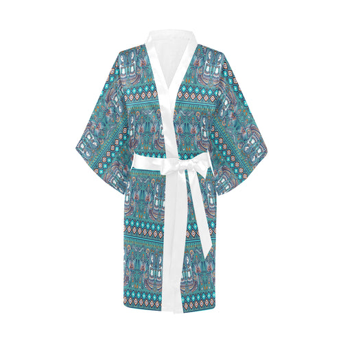 Mermaid Pattern Ethnic Motifs Women's Short Kimono Robe