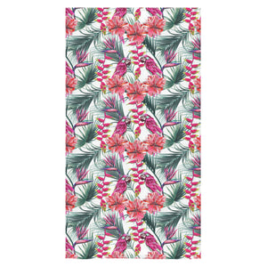 Pink Parrot Heliconia Pattern Bath Towel