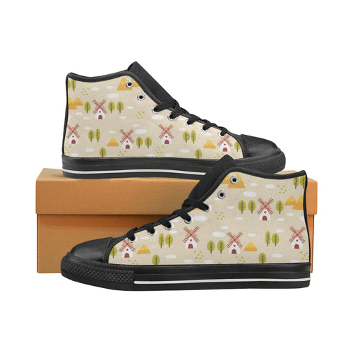 Windmill Pattern Women's High Top Shoes Black Made In USA