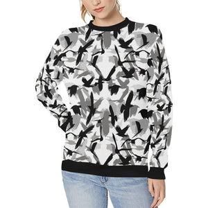 Crow Pattern Women's Crew Neck Sweatshirt