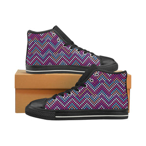 Zigzag Chevron Pokka Dot Aboriginal Pattern Men's High Top Shoes Black