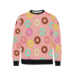 Donut Pattern Pink Background Men's Crew Neck Sweatshirt