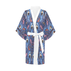 Mermaid Pattern Women's Short Kimono Robe