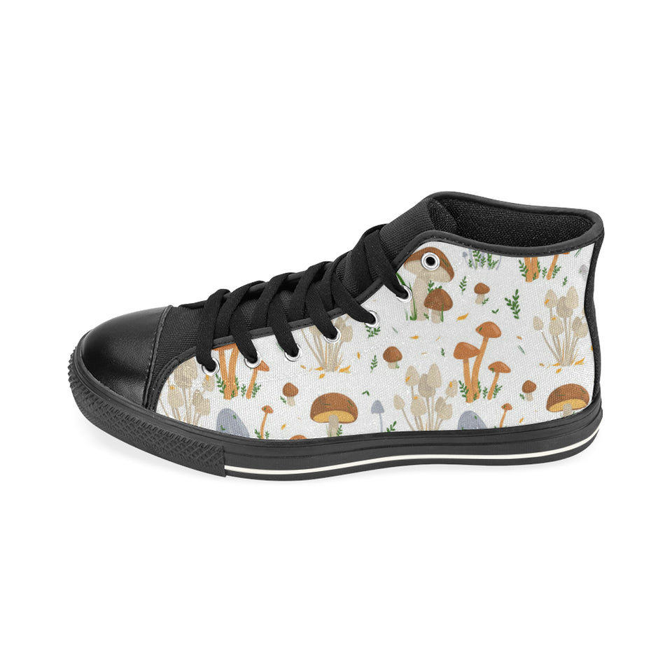 Mushroom Pattern Theme Men's High Top Shoes Black (Made In USA)