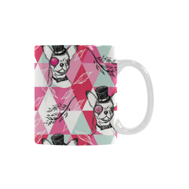 Cool Chihuahua Pink Pattern Classical White Mug (FulFilled In US)