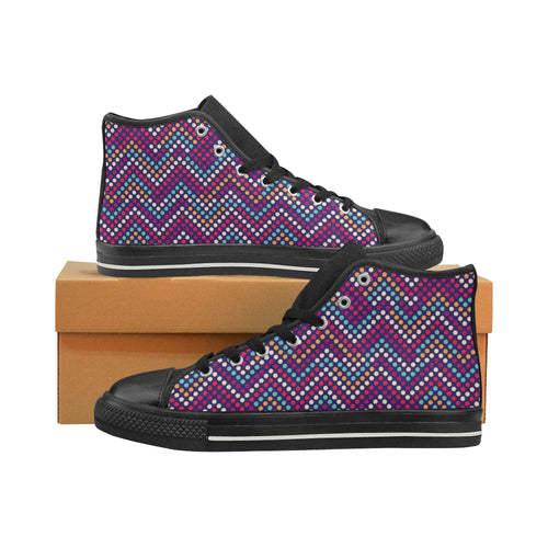 Zigzag Chevron Pokka Dot Aboriginal Pattern Women's High Top Shoes Black Made In USA