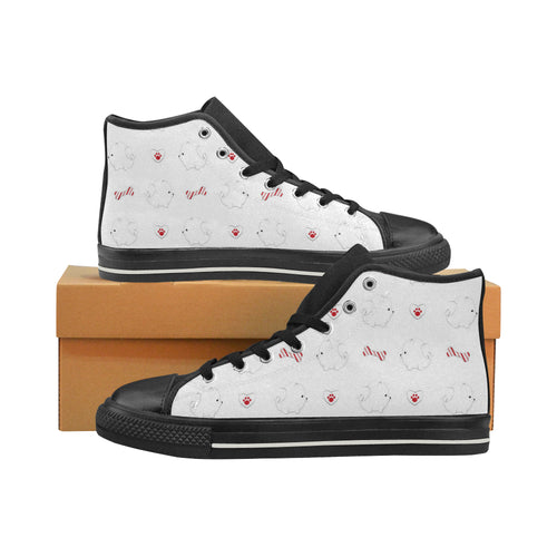 White Pomeranian Pattern Women's High Top Shoes Black Made In USA
