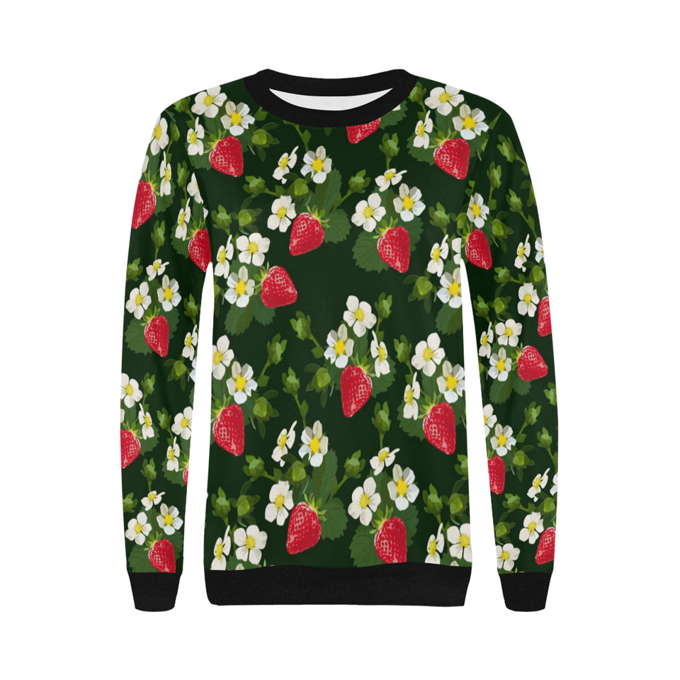 Strawberry Pattern Background Women's Crew Neck Sweatshirt