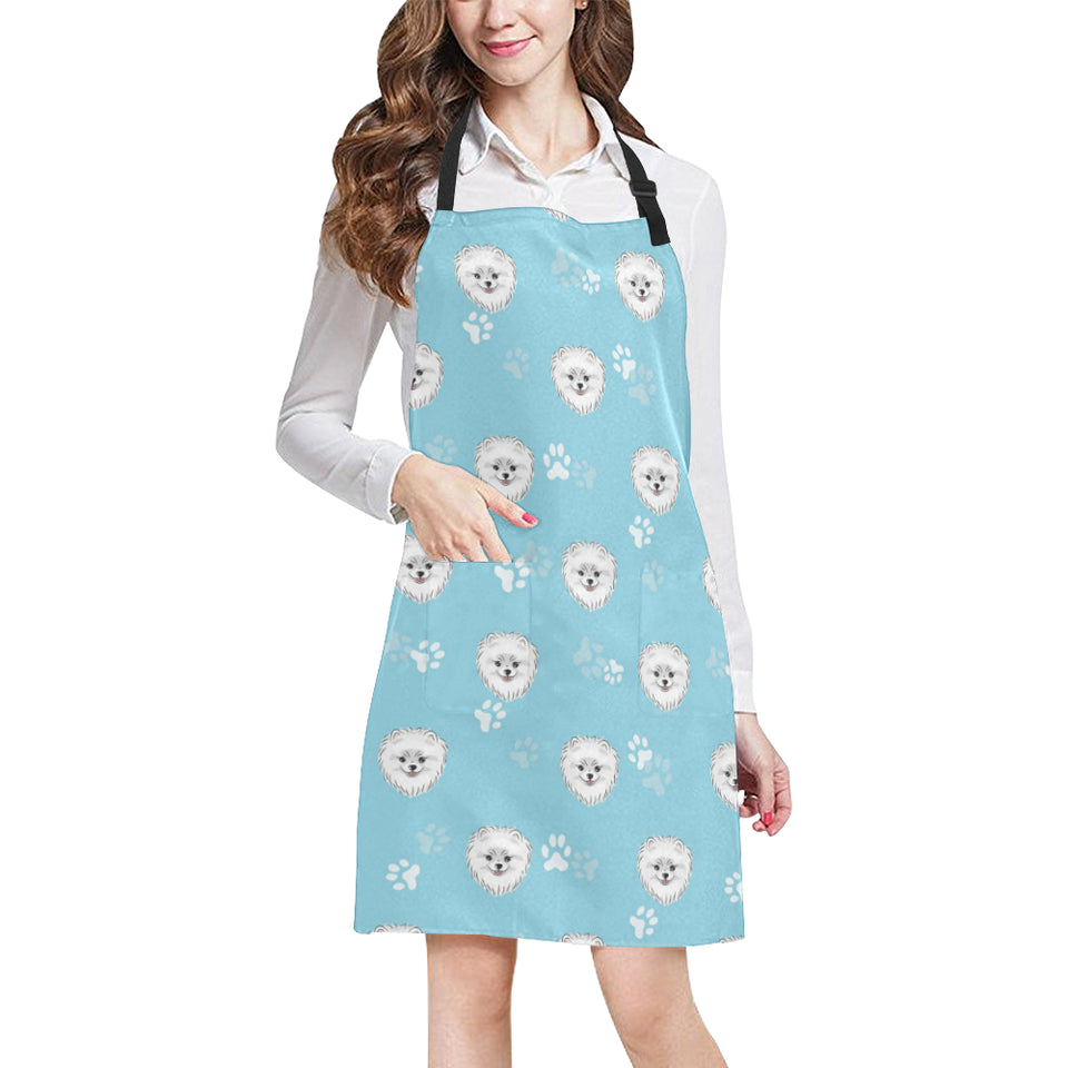 Pomeranian Pattern Blue Background Adjustable Apron