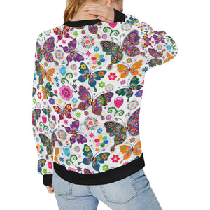 Colorful Butterfly Flower Pattern Women's Crew Neck Sweatshirt