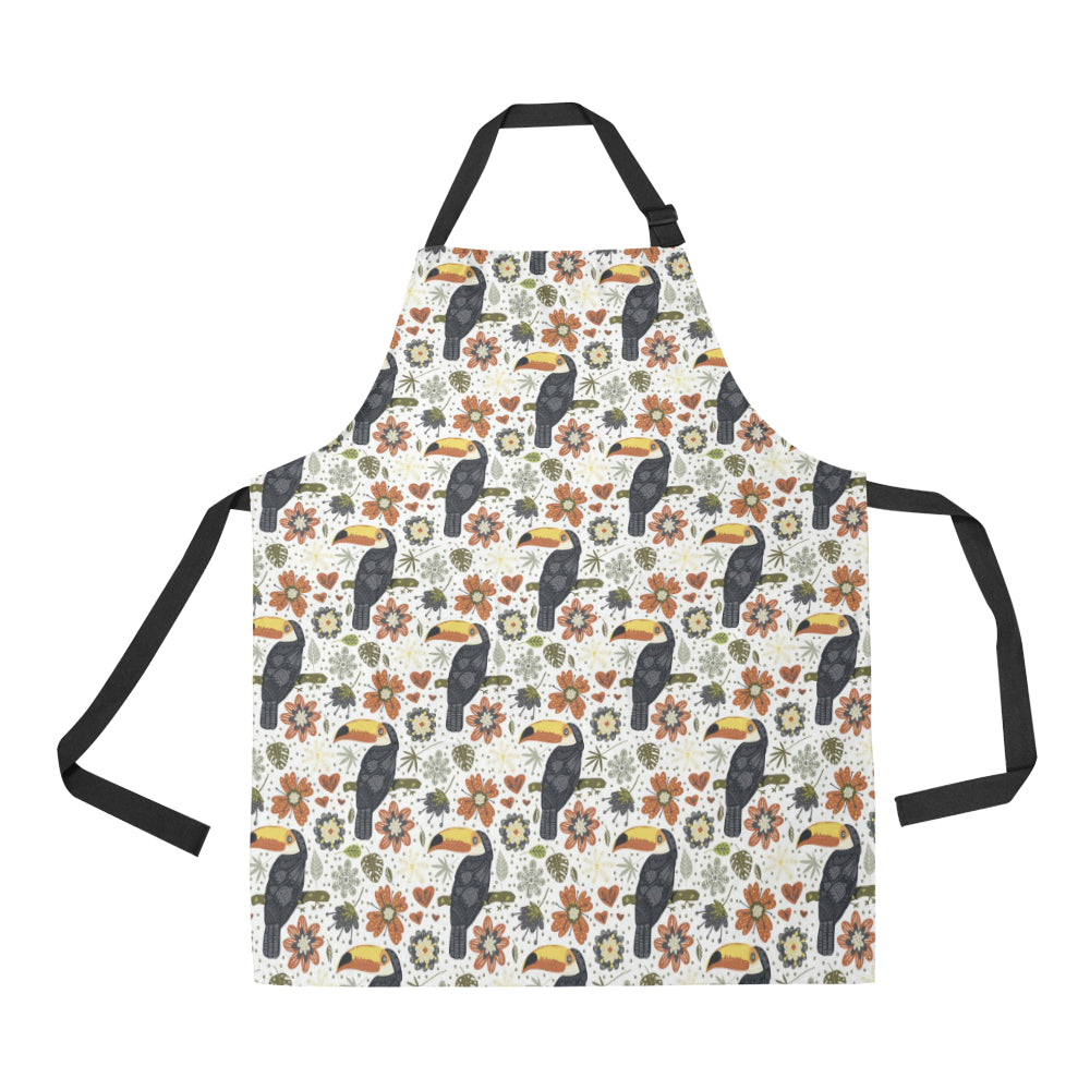 Toucan Flower Pattern Adjustable Apron