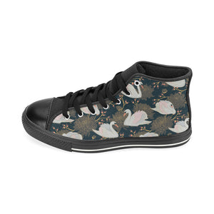 Swan Pattern Men's High Top Shoes Black