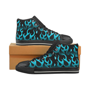 Blue Flame Fire Pattern Background Men's High Top Shoes Black (FulFilled In US)