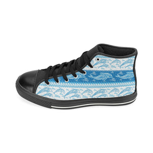 Dolphin Tribal Pattern Ethnic Motifs Men's High Top Shoes Black (FulFilled In US)