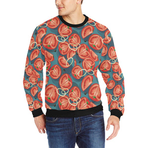 Tomato Pattern Background Men's Crew Neck Sweatshirt