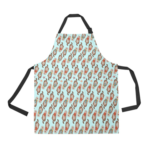 Otter Pattern Background Adjustable Apron