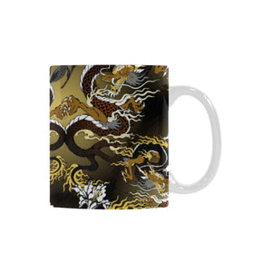 Gold Dragon Pattern Classical White Mug (FulFilled In US)