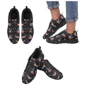 Eagle Pattern Print Design 04 Women's Sneakers Black